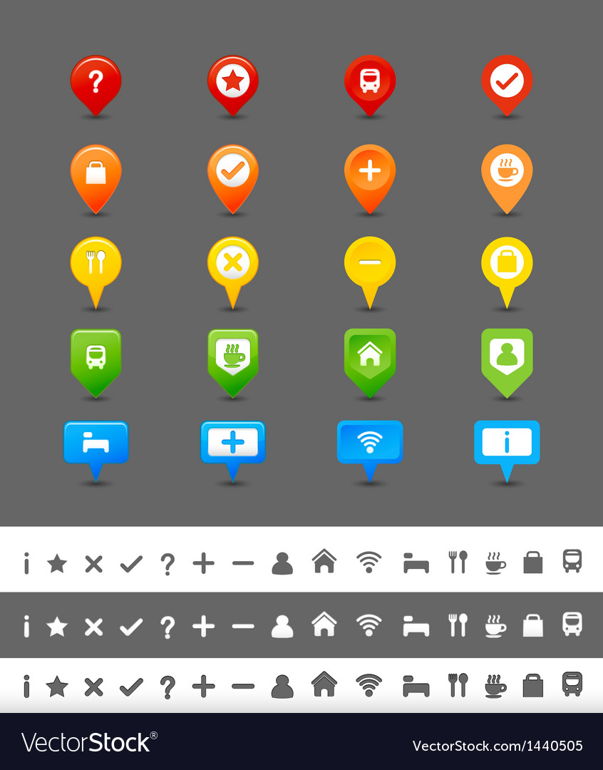Gps pin and map icon set vector | Price: 1 Credit (USD $1)