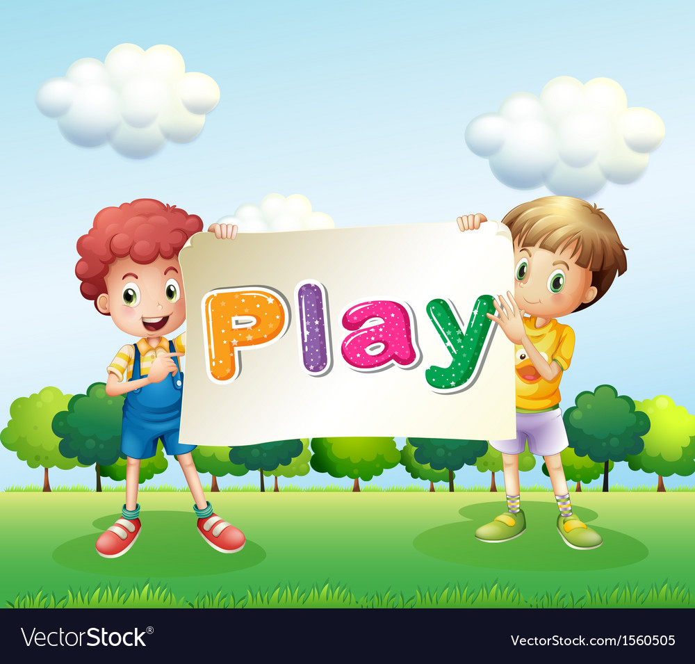 Kids holding a banner vector | Price: 3 Credit (USD $3)