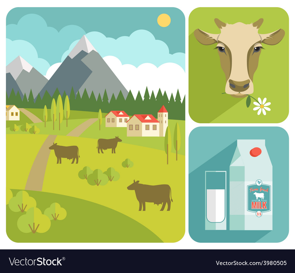 Modern flat design of milk vector | Price: 1 Credit (USD $1)