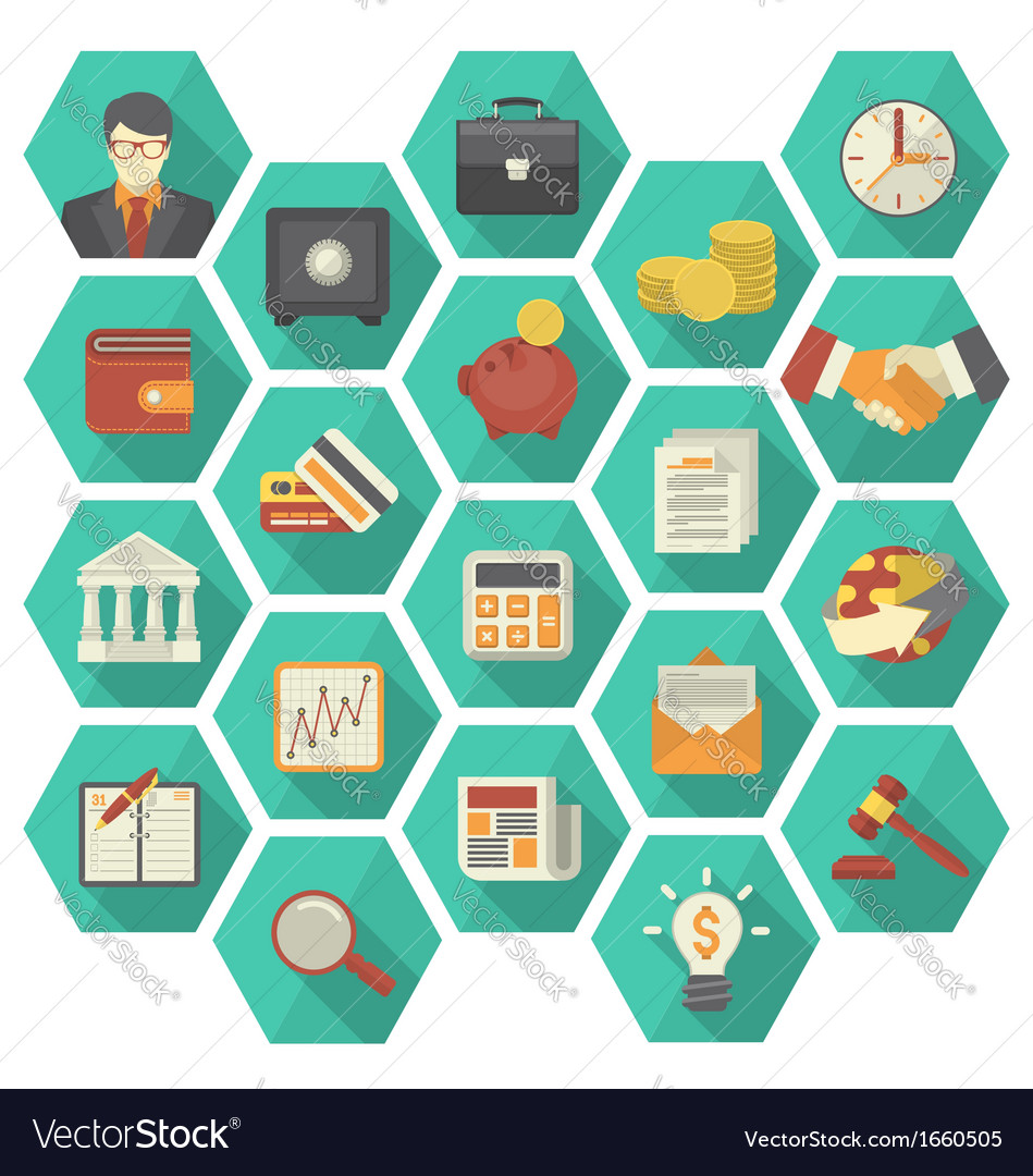 Modern flat financial and business icons hexagon vector | Price: 1 Credit (USD $1)