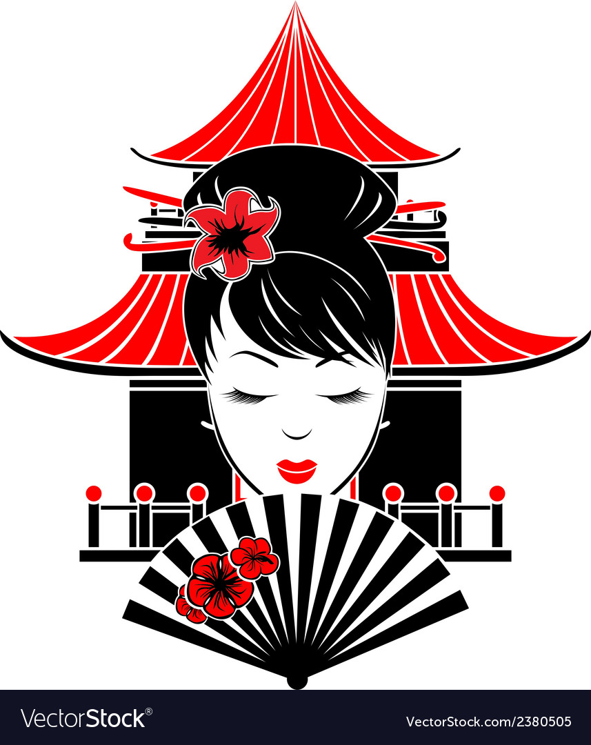 Portrait of asian girl vector | Price: 1 Credit (USD $1)