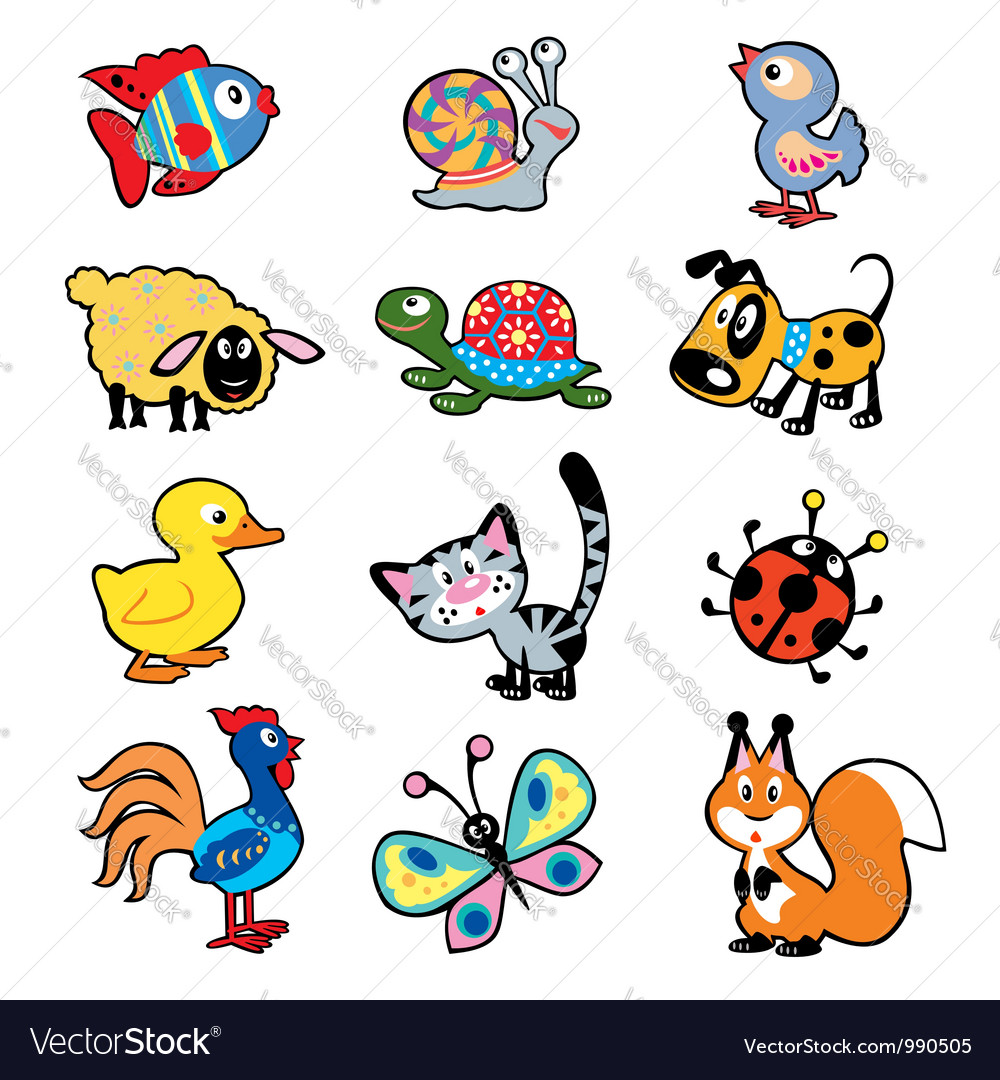 Simple children picture with animals vector | Price: 1 Credit (USD $1)