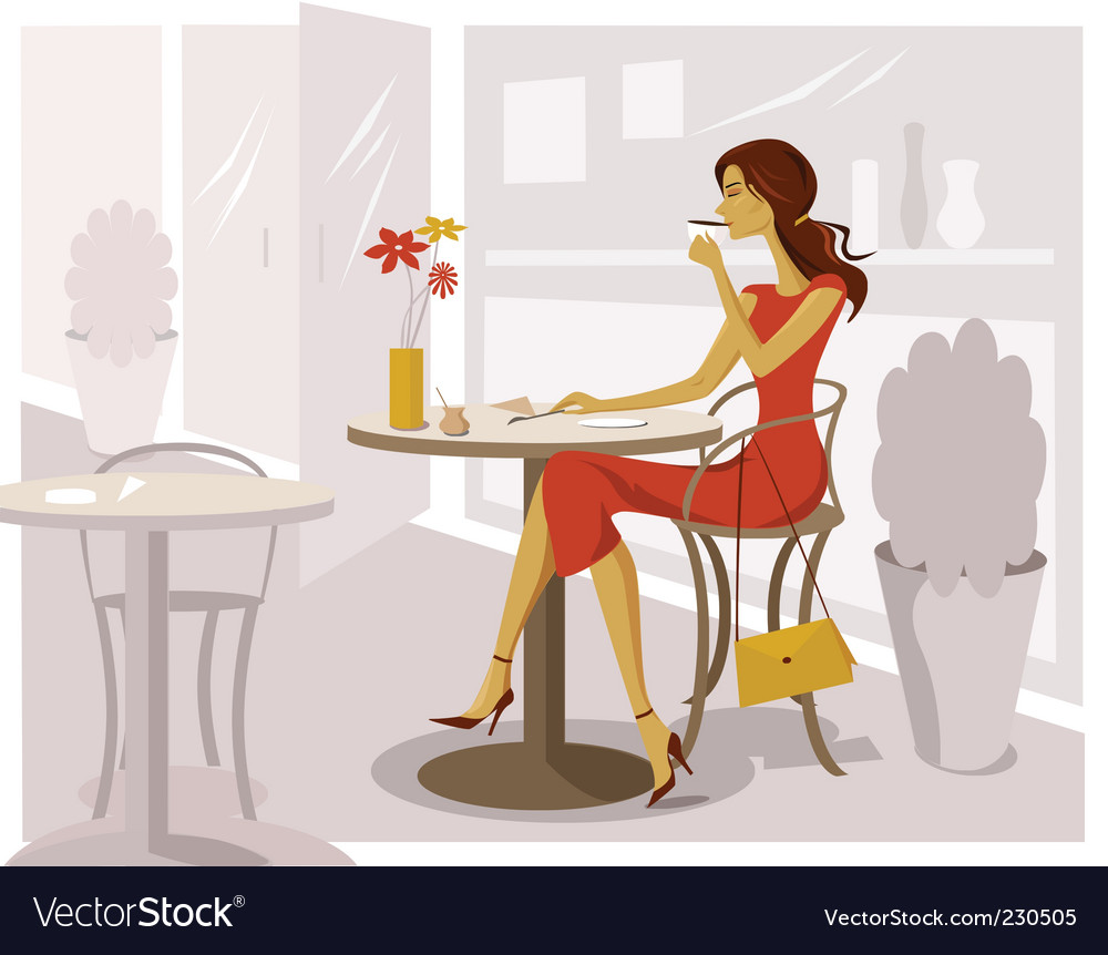 Woman drinking coffee vector | Price: 3 Credit (USD $3)