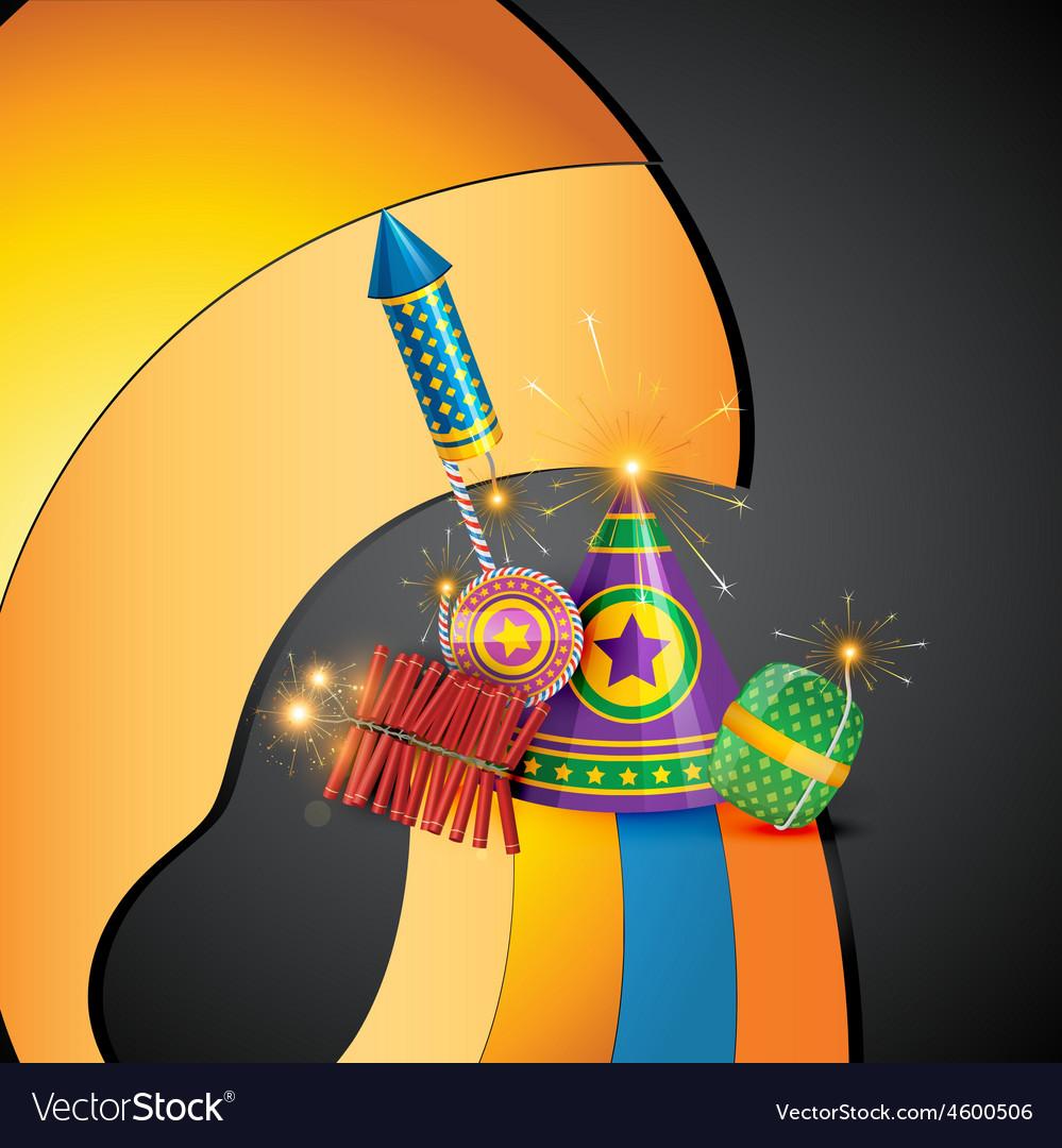 Attractive diwali crackers background vector | Price: 1 Credit (USD $1)