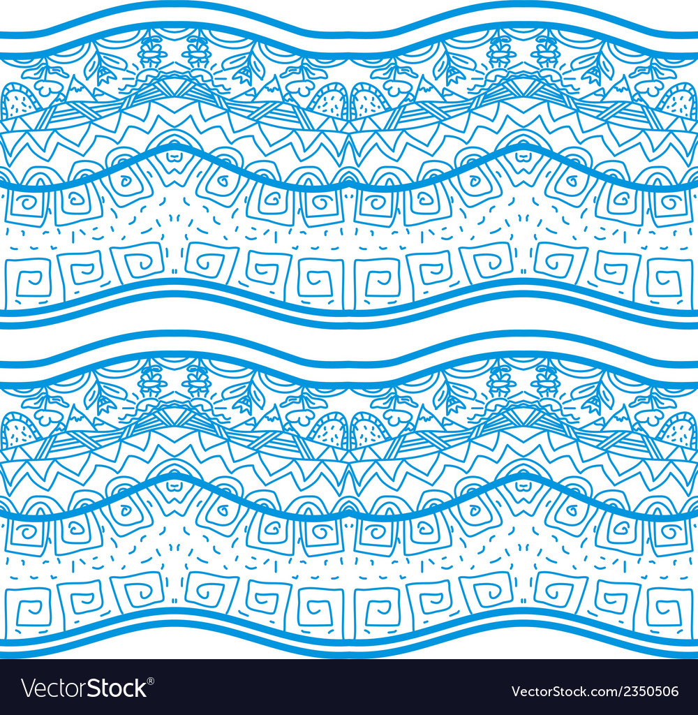 Blue seamless pattern with nature elements vector | Price: 1 Credit (USD $1)