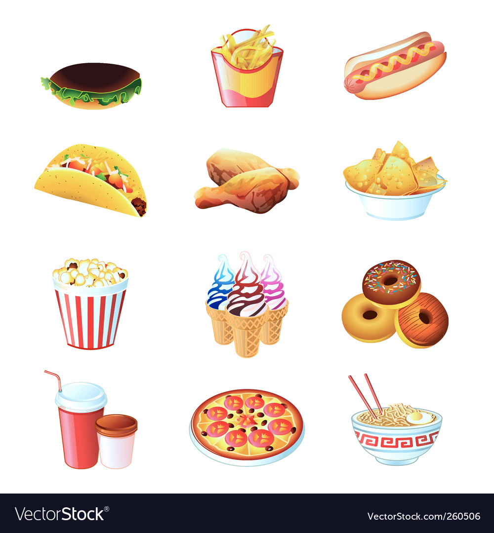 Fast food icons vector