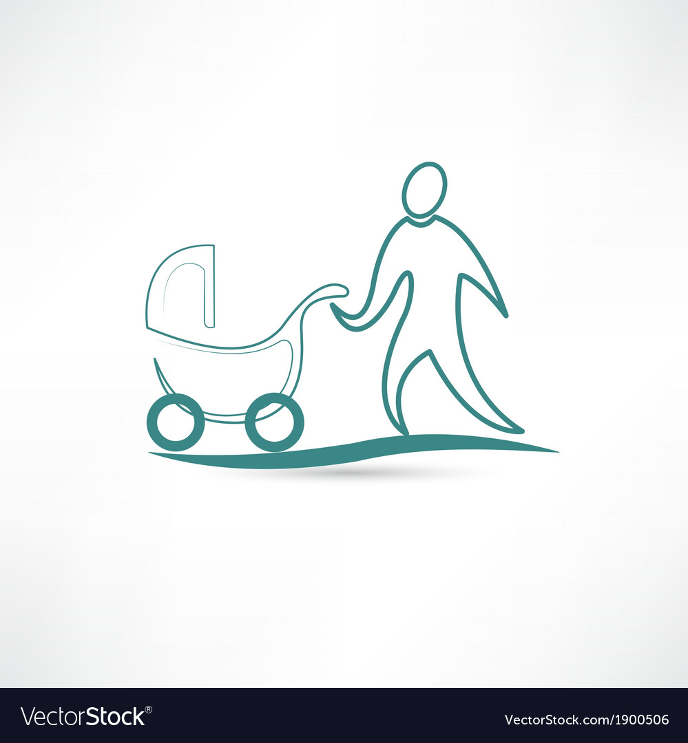 Father with stroller icon vector | Price: 1 Credit (USD $1)