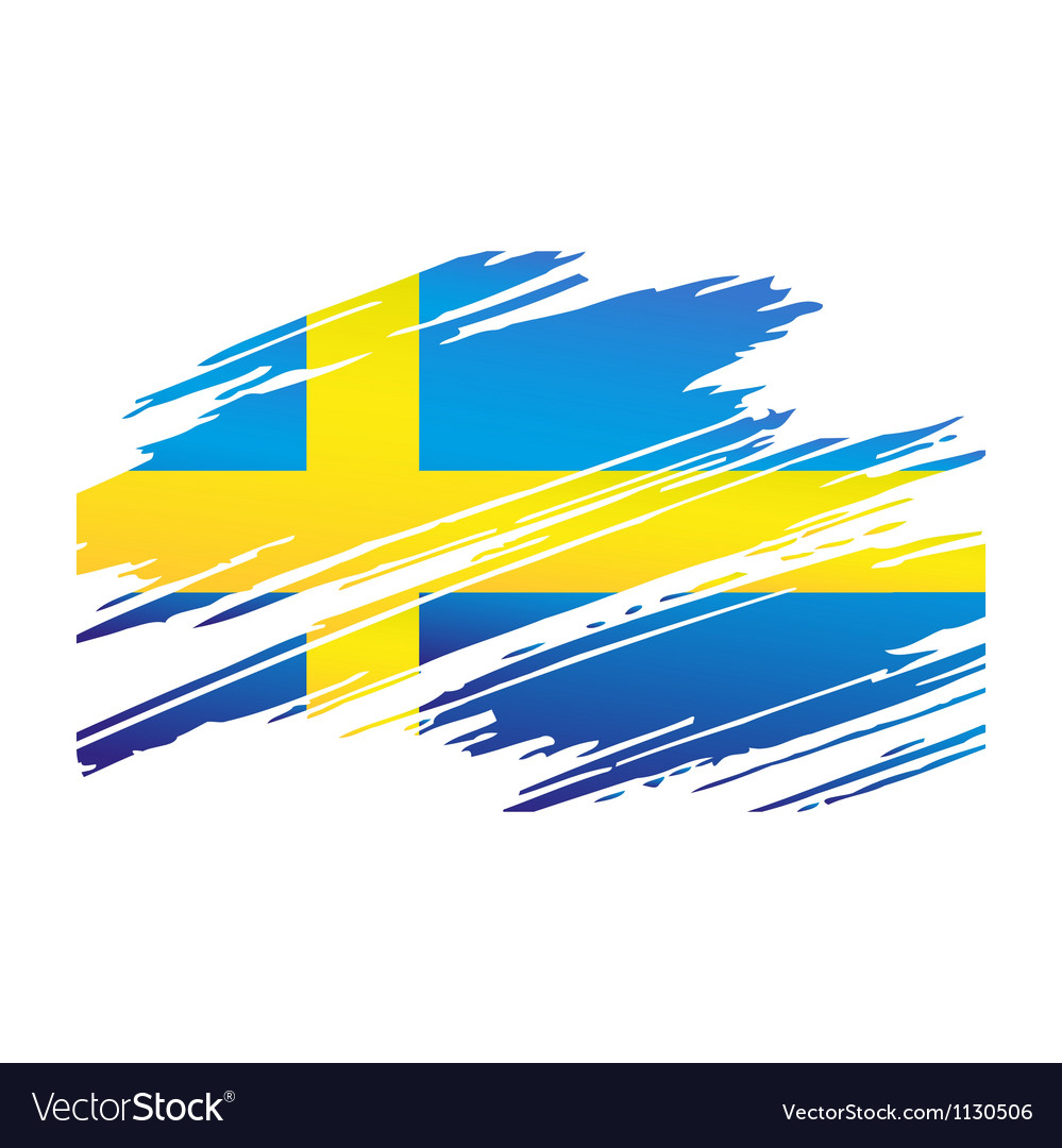 Flag sweden in the form traces brush vector | Price: 1 Credit (USD $1)