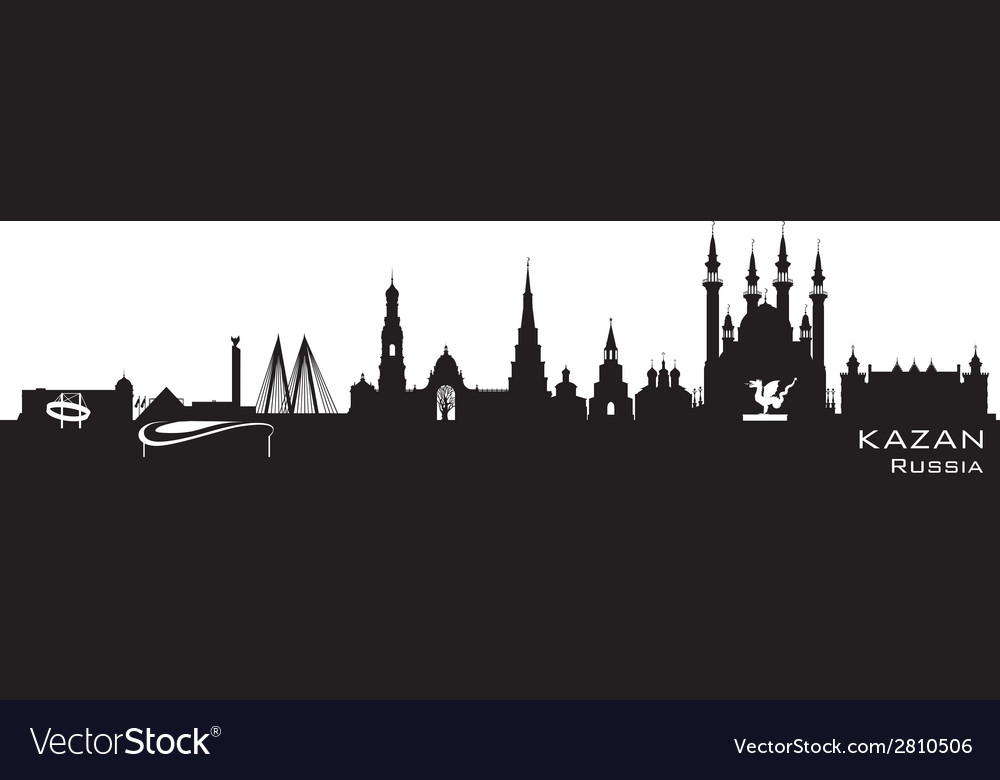Kazan russia city skyline detailed silhouette vector | Price: 1 Credit (USD $1)