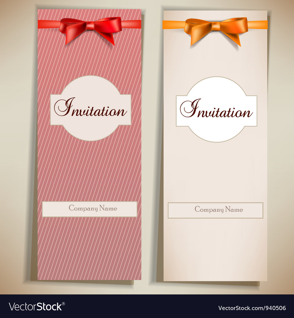 Retro card notes with ribbons red and beige vector | Price: 1 Credit (USD $1)