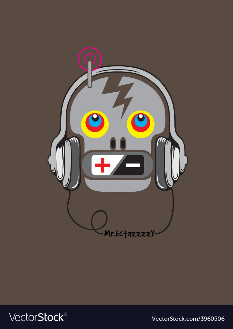 Skull with music vector | Price: 1 Credit (USD $1)