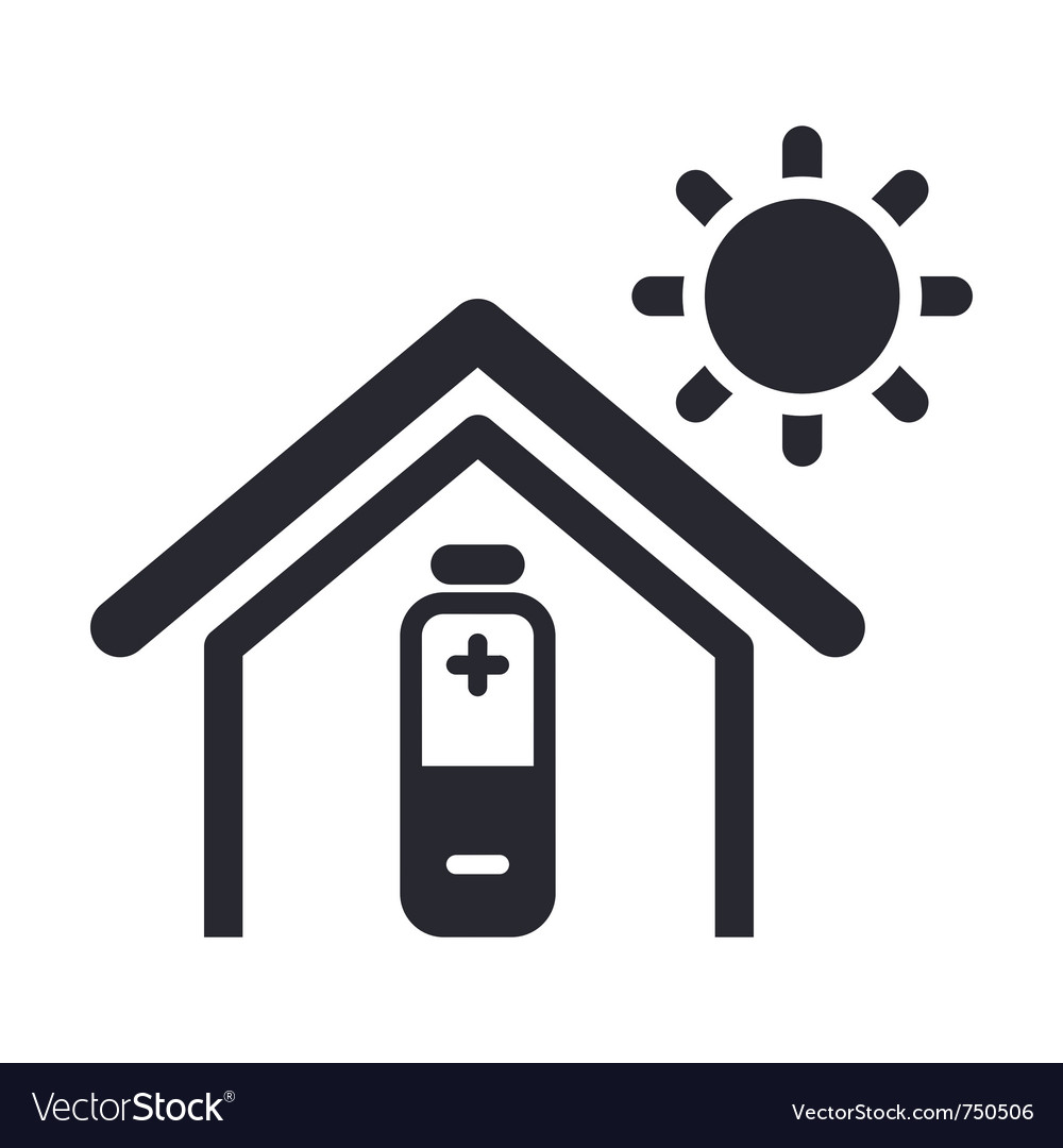 Solar energy home icon vector | Price: 1 Credit (USD $1)