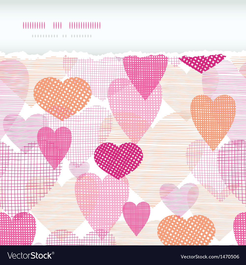 Textured fabric hearts torn horizontal seamless vector | Price: 1 Credit (USD $1)