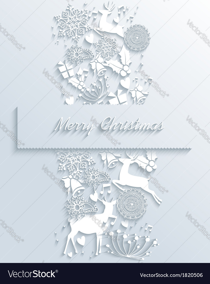 White merry christmas 3d white decoration greeting vector | Price: 1 Credit (USD $1)