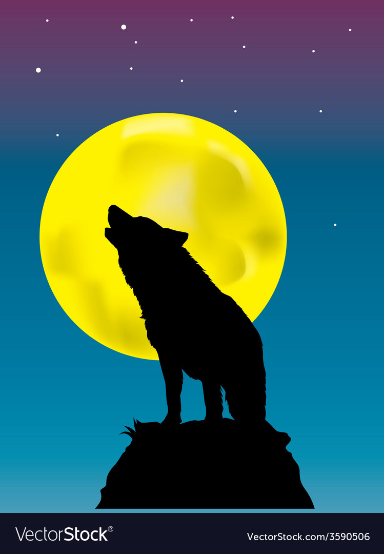 Wolf howling at the moon background vector | Price: 1 Credit (USD $1)