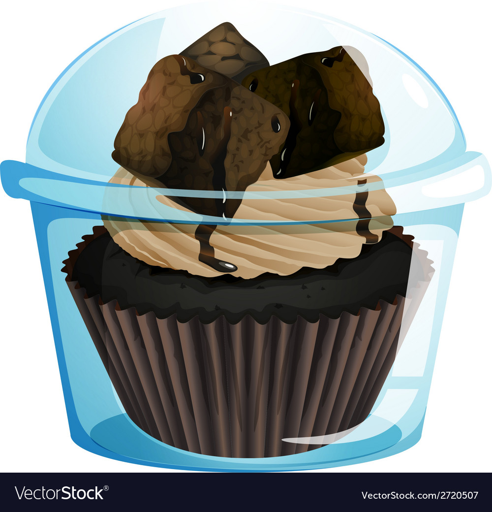 A transparent container with a chocolate cupcake vector | Price: 1 Credit (USD $1)