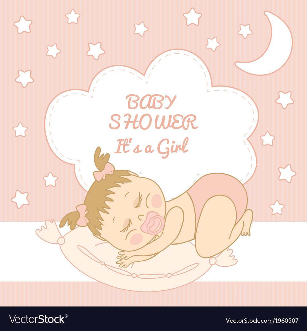 Baby shower it is a girl vector | Price: 1 Credit (USD $1)
