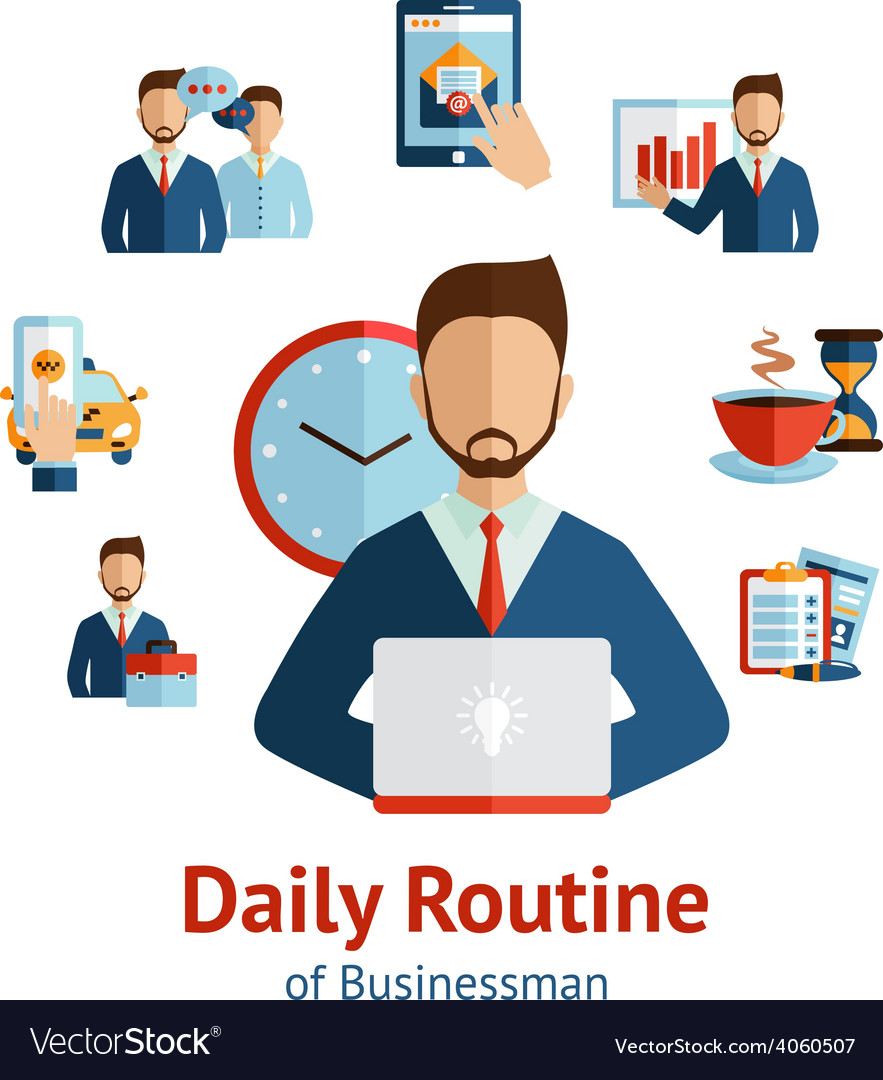 Businessman daily routine concept poster vector | Price: 1 Credit (USD $1)
