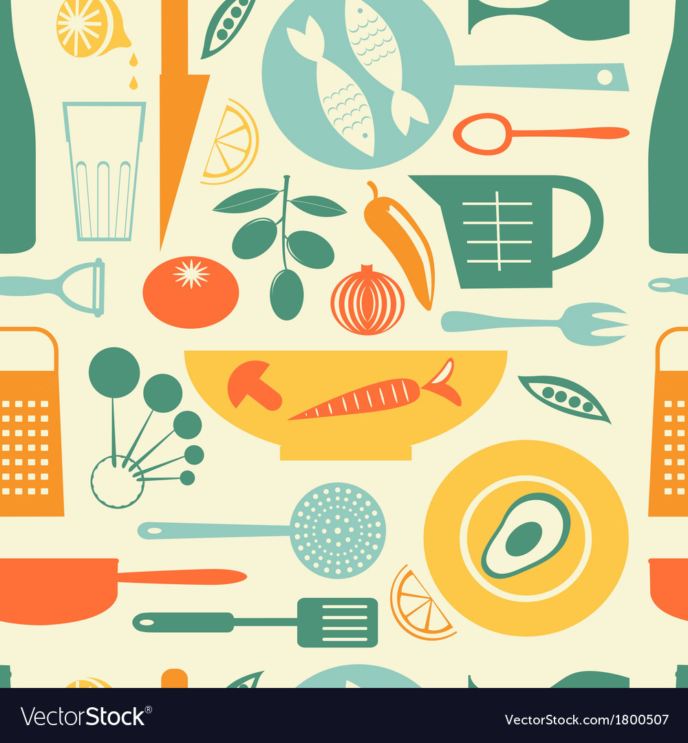 Colorful kitchen pattern vector | Price: 1 Credit (USD $1)