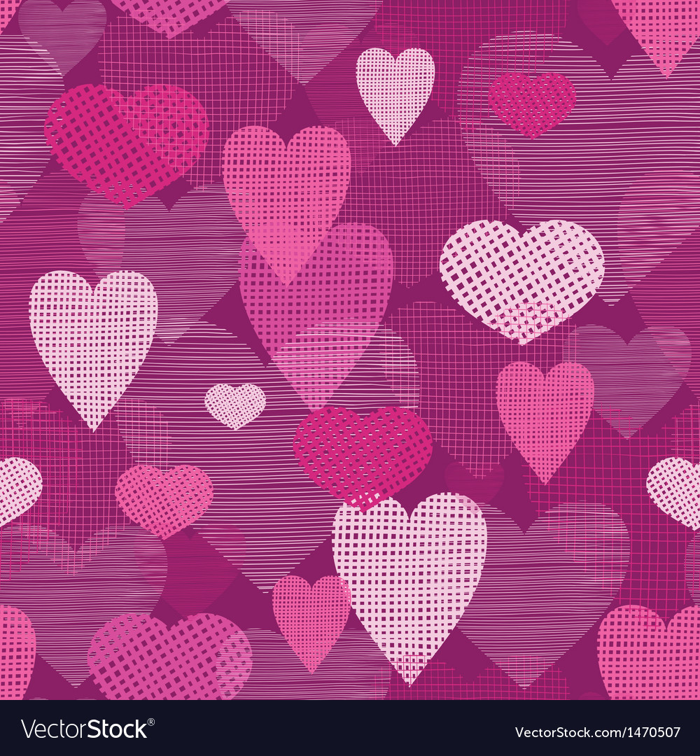 Fabric hearts romantic seamless pattern background vector | Price: 1 Credit (USD $1)