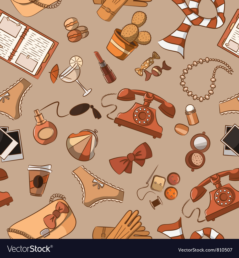 Female things pattern vintage style vector | Price: 3 Credit (USD $3)