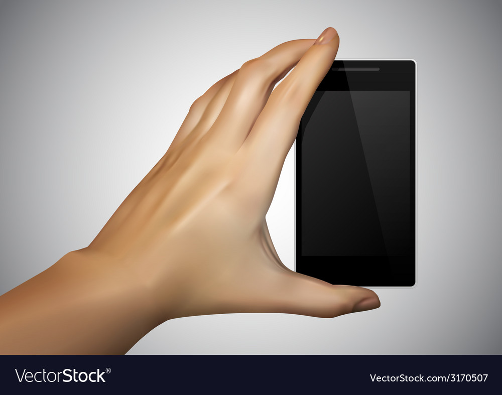 Hand are holding a smartphone vector | Price: 1 Credit (USD $1)