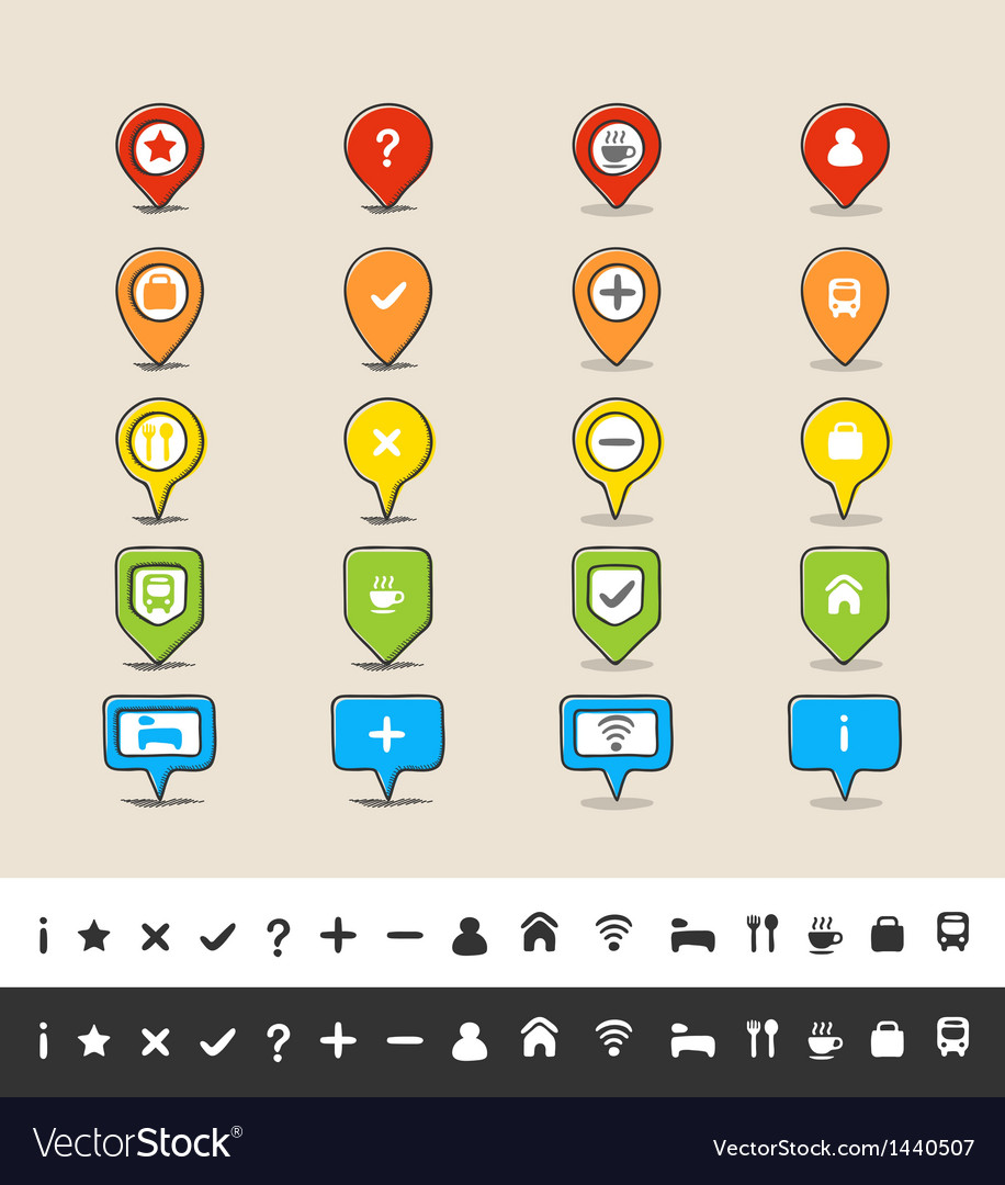 Hand drawn gps pin and map icon set vector | Price: 1 Credit (USD $1)