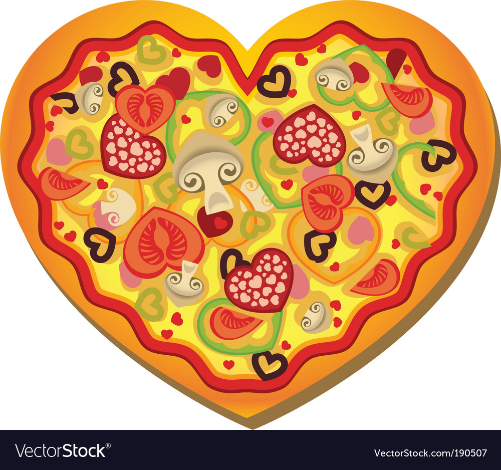 Heart shaped pizza vector | Price: 1 Credit (USD $1)