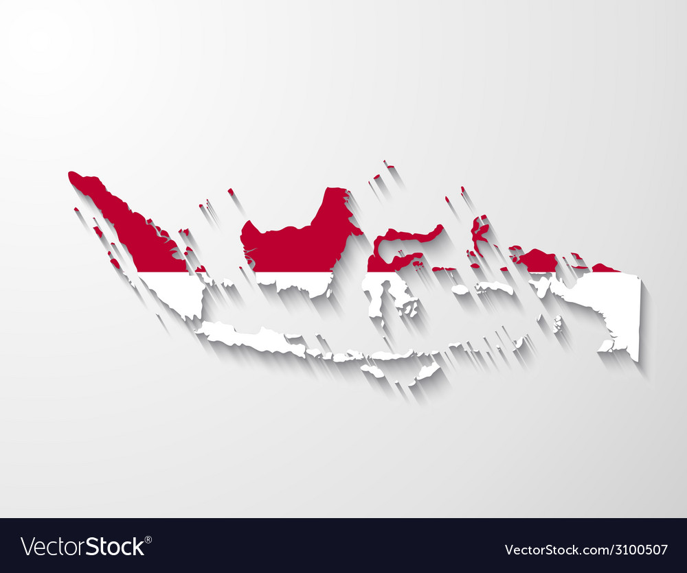 Indonesia country map with shadow effect presenta vector | Price: 1 Credit (USD $1)