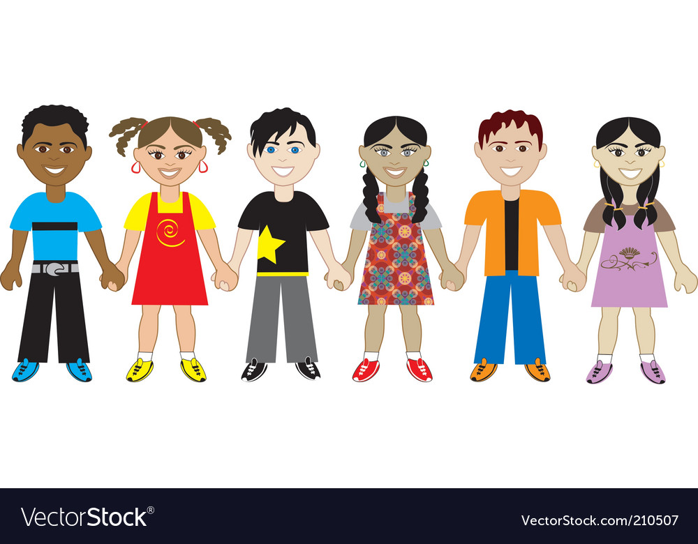Kids holding hands vector | Price: 1 Credit (USD $1)