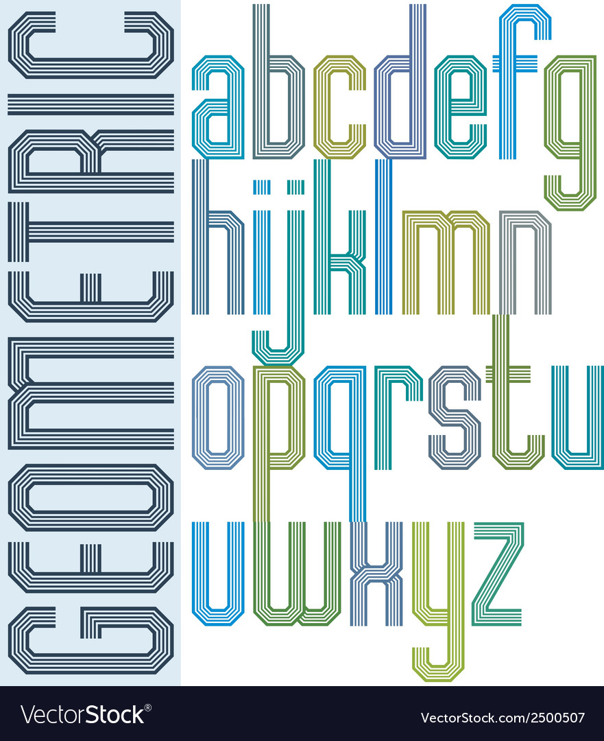 Retro colorful font with repeated lines geometric vector | Price: 1 Credit (USD $1)