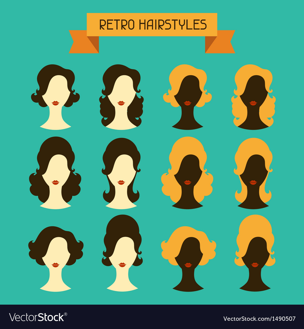 Retro hairstyles female silhouettes vector | Price: 1 Credit (USD $1)