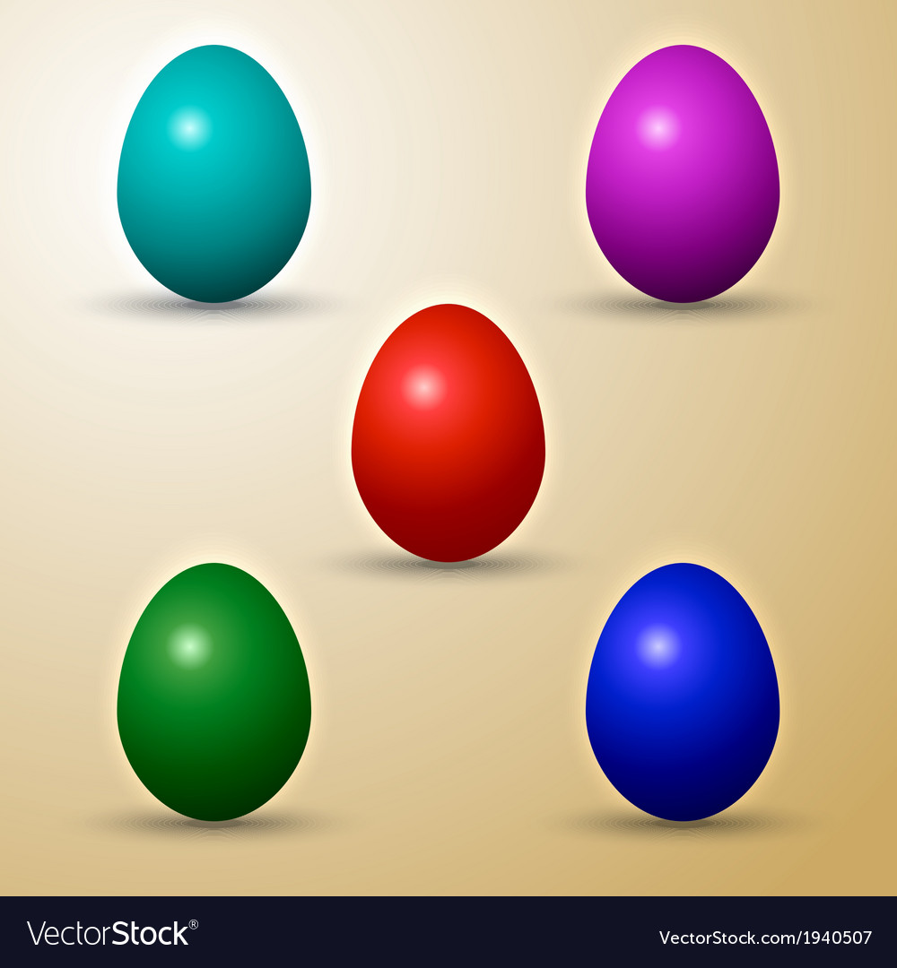 Set of colored eastern eggs vector | Price: 1 Credit (USD $1)