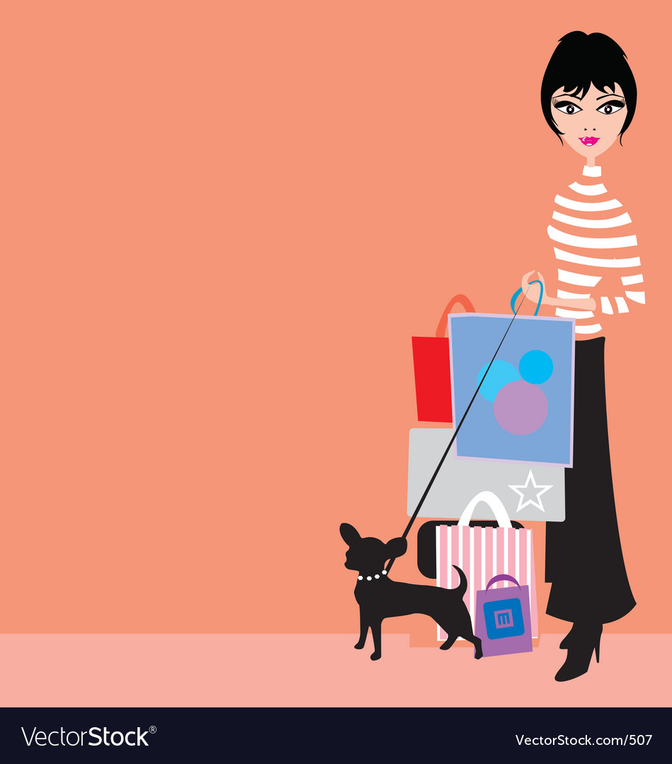 Shopping girl with chiwawa vector | Price: 1 Credit (USD $1)
