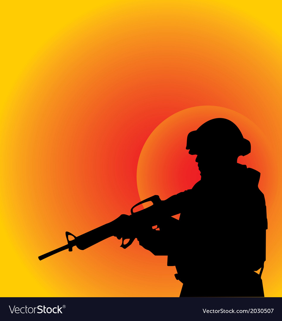 Soldier silhouette vector | Price: 1 Credit (USD $1)
