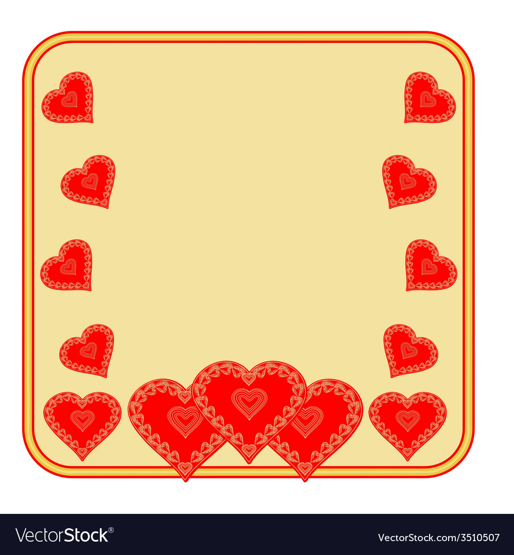Valentines day frame of heart gold background vector | Price: 1 Credit (USD $1)