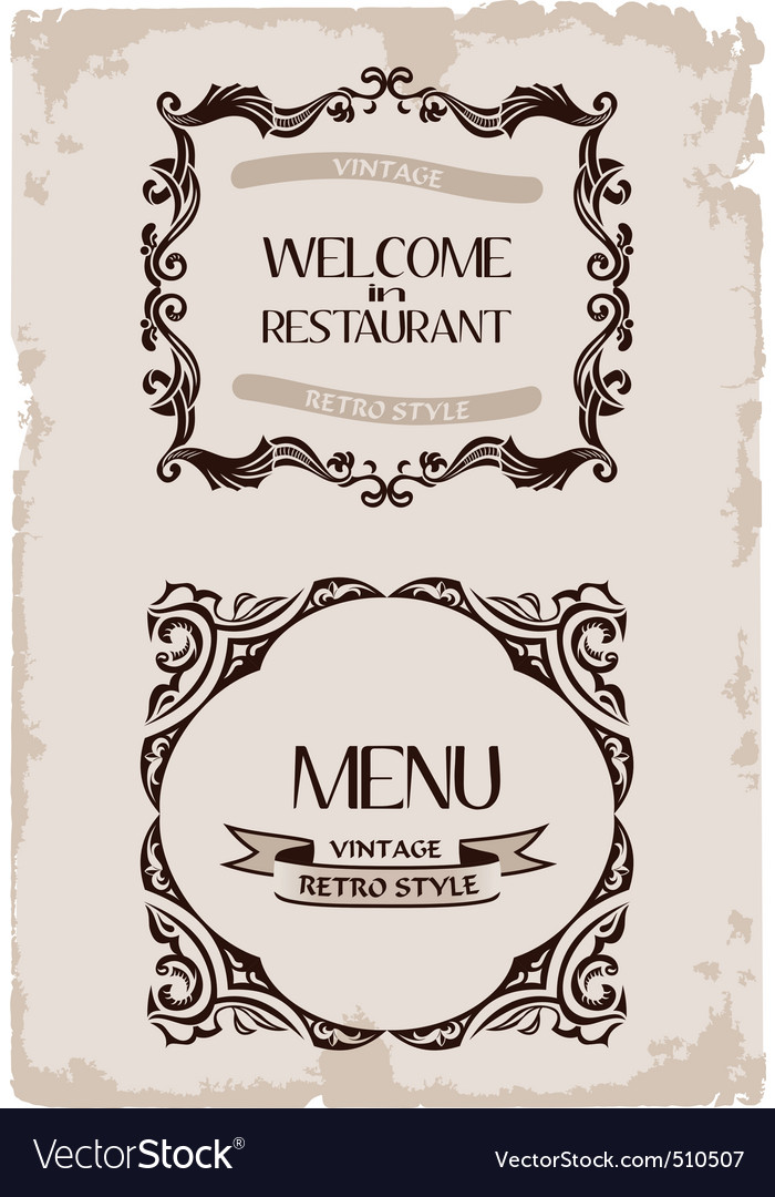 vintage restaurant retro frame background p vector | Price: 1 Credit (USD $1)