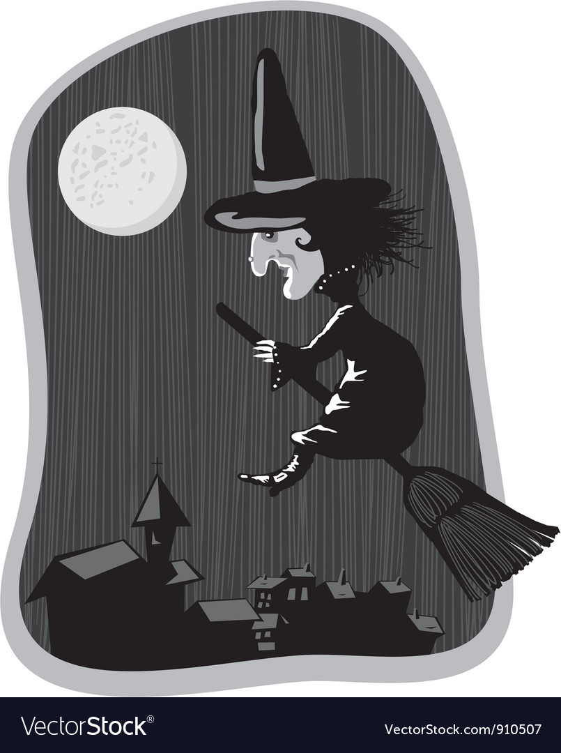Witch on broom vector | Price: 3 Credit (USD $3)