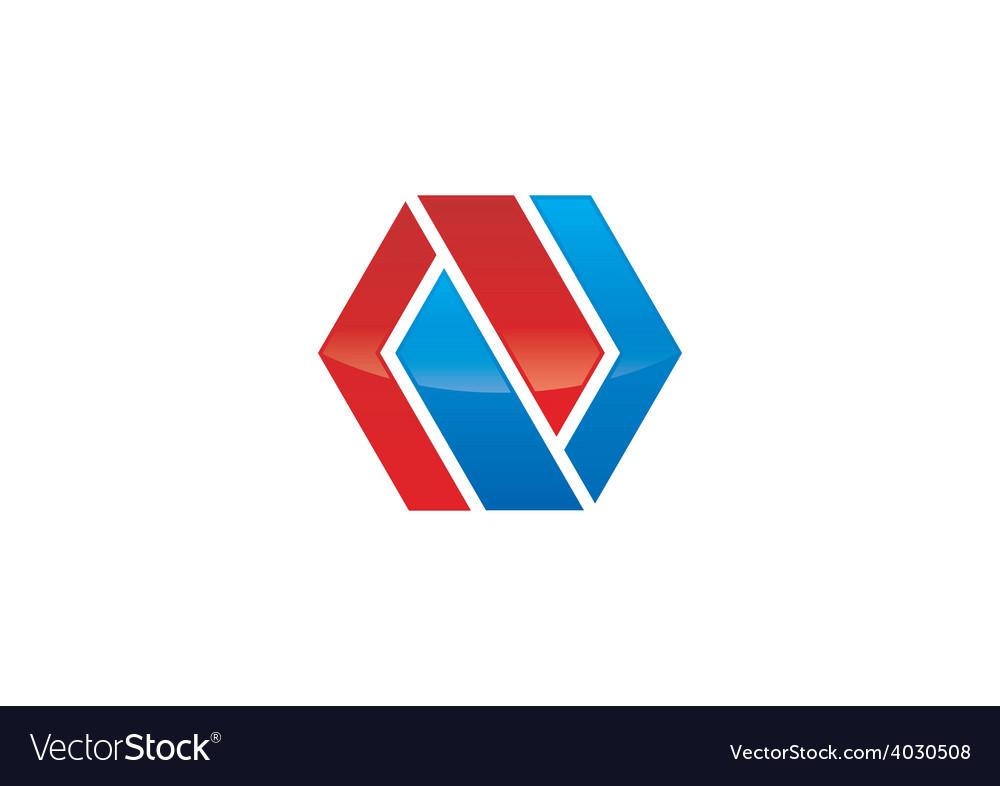 Abstract polygon infinity shape logo vector | Price: 1 Credit (USD $1)