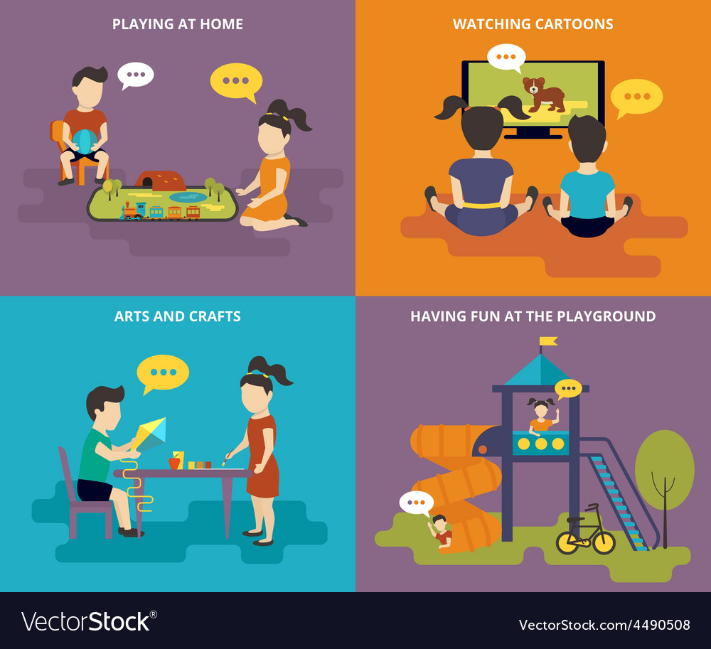 Family with concept flat icons set vector
