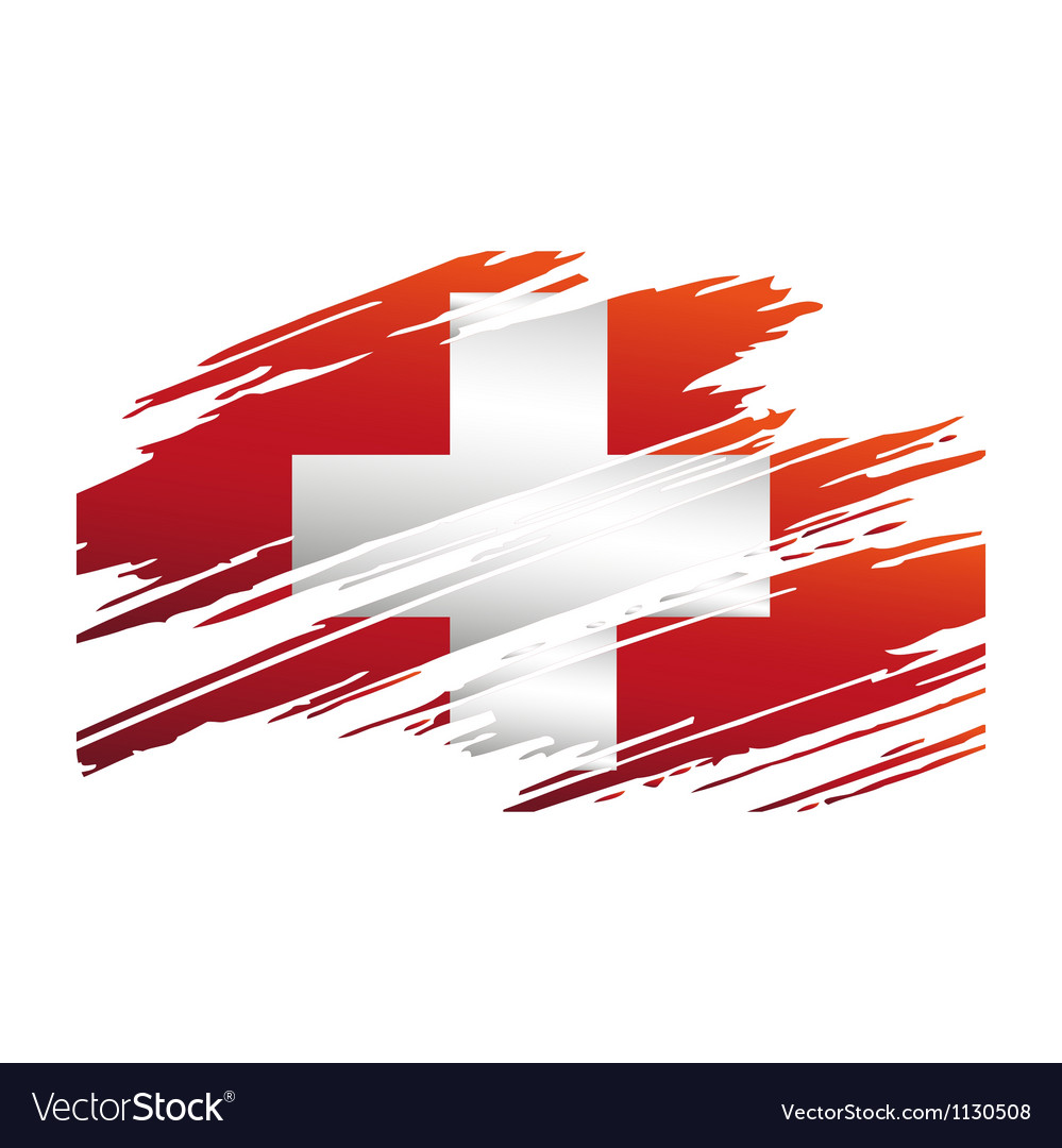 Flag of switzerlandin the form traces brush vector | Price: 1 Credit (USD $1)