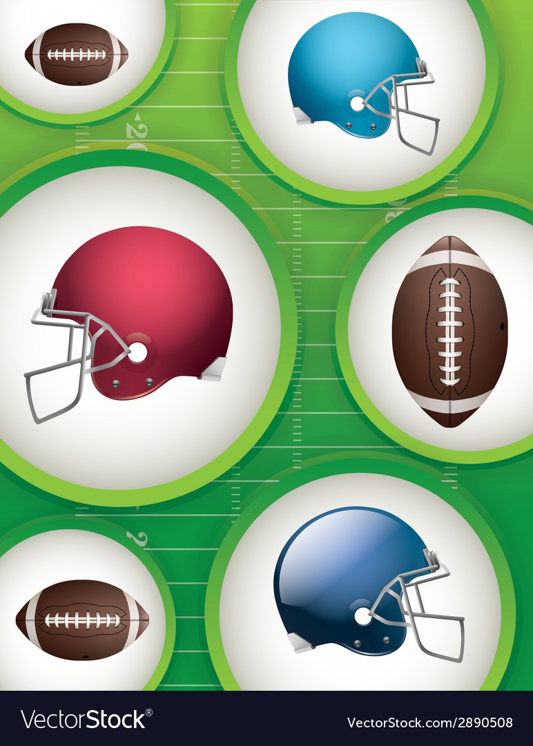 Football helmets and balls background vector | Price: 1 Credit (USD $1)