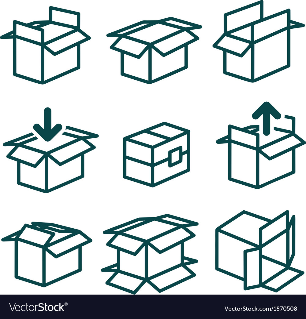 Packing and boxes in various types vector | Price: 1 Credit (USD $1)