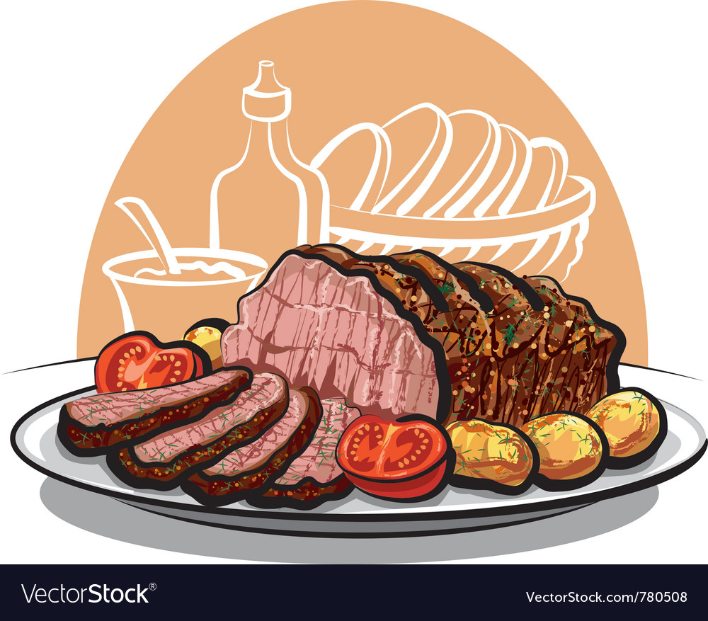 Roast beef with potatoes vector | Price: 3 Credit (USD $3)