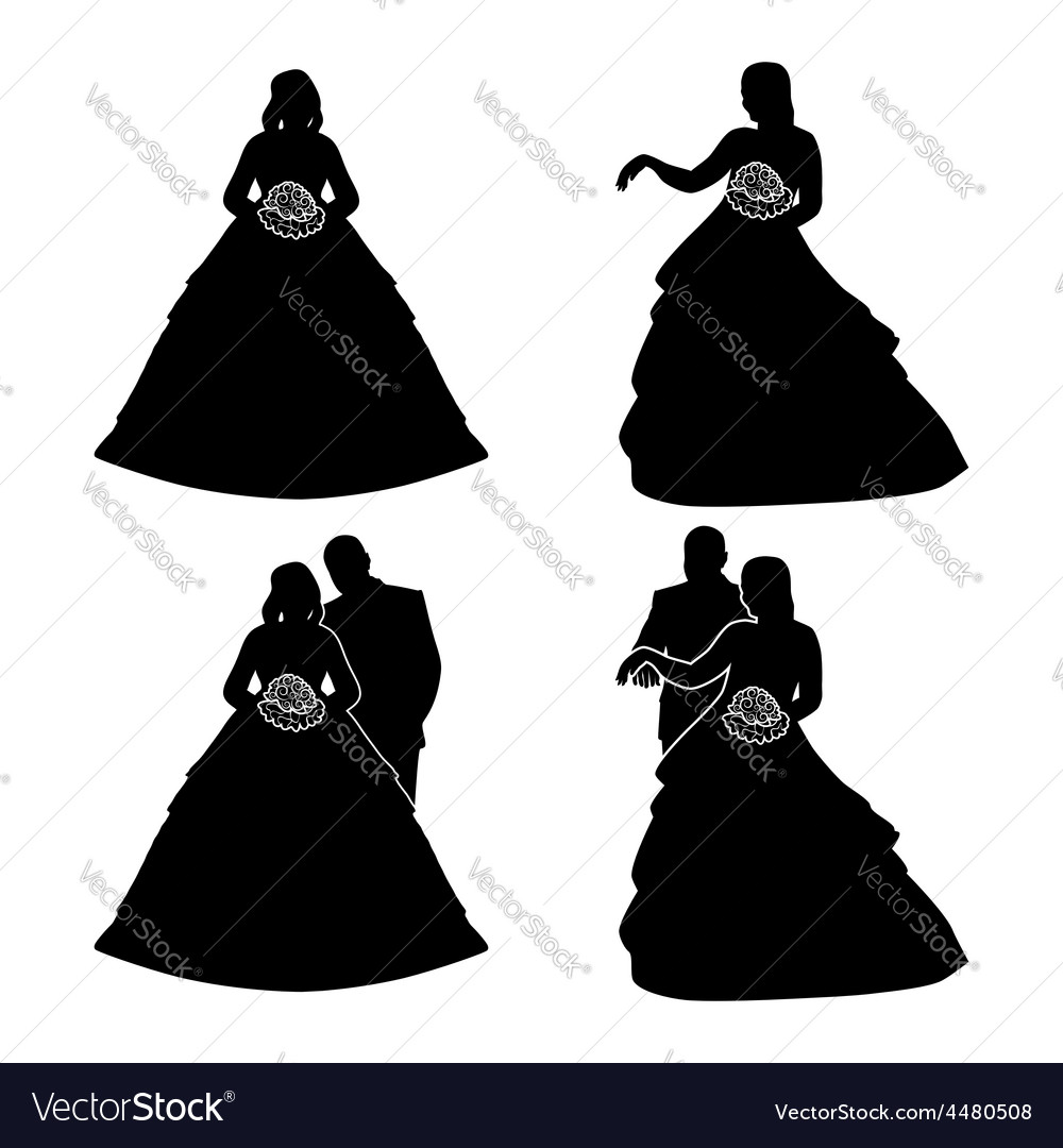 Silhouettes of the bride and groom with a bouquet vector | Price: 1 Credit (USD $1)