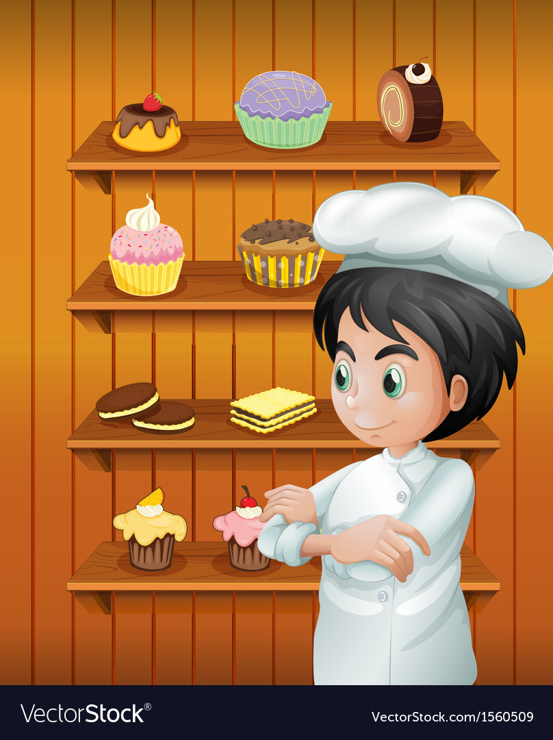 A chef in front of the baked goodies vector | Price: 3 Credit (USD $3)