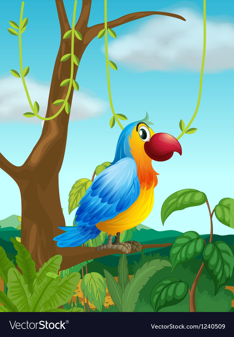 A colorful parrot at the branch of a tree vector | Price: 1 Credit (USD $1)