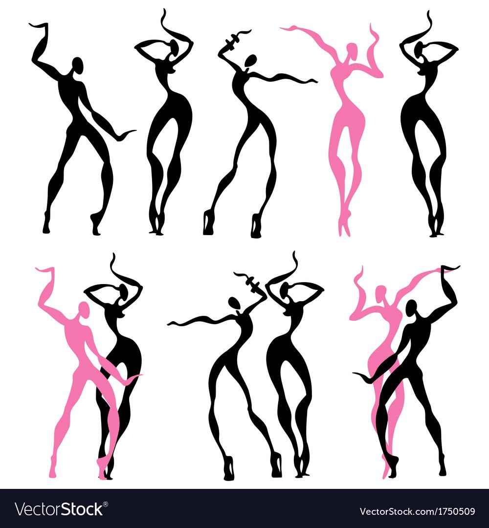 Abstract dancing figures vector | Price: 1 Credit (USD $1)
