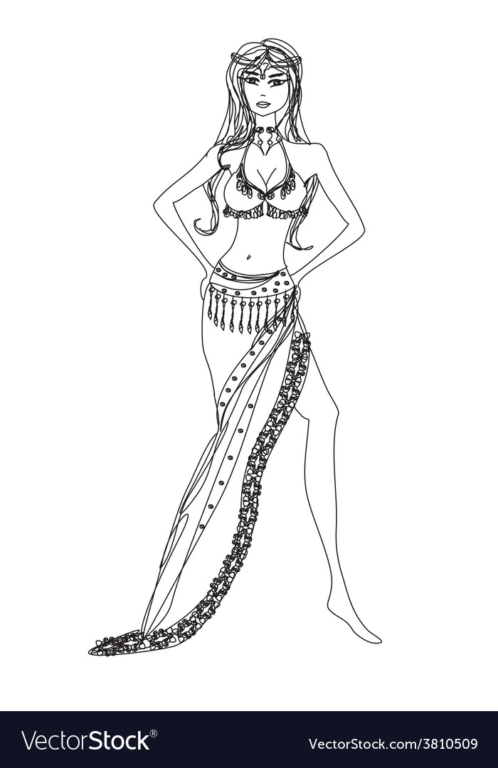 Belly dancer hand drawn vector