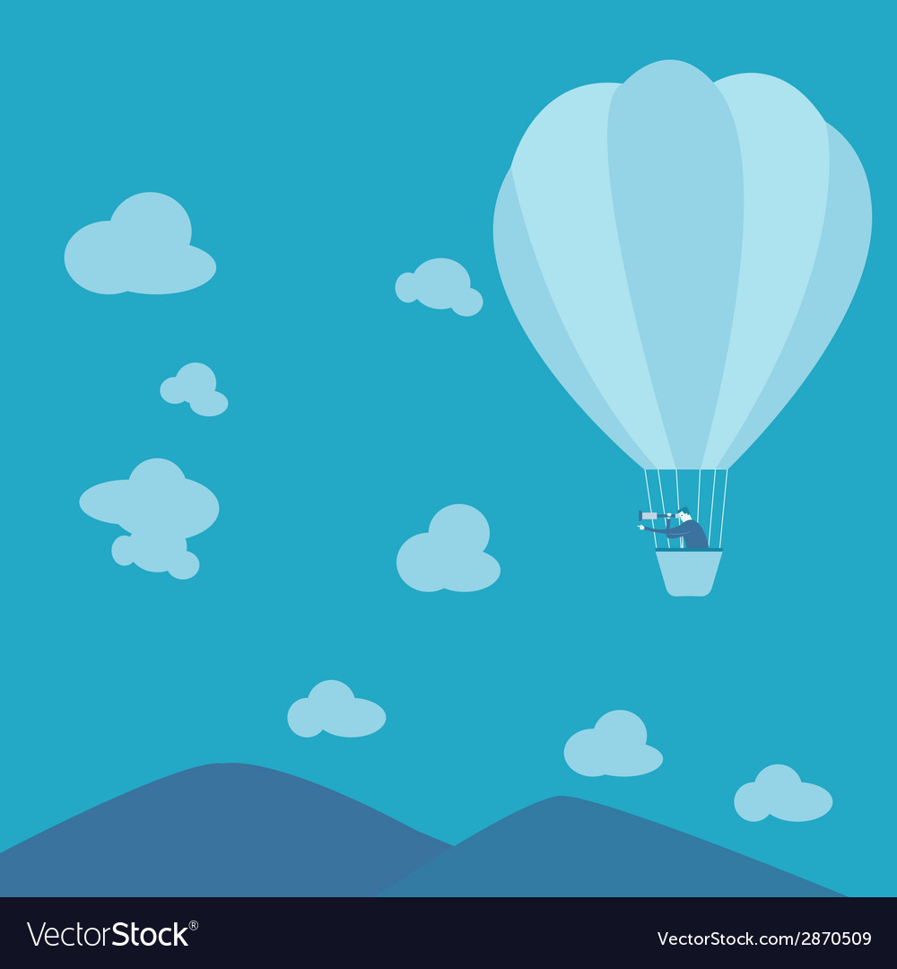 Businessman looking for business ina hot-air vector | Price: 1 Credit (USD $1)